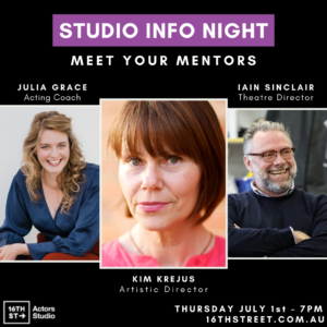 Image of the three mentors talking at our studio info night.